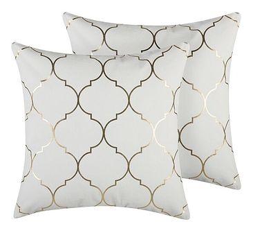 Zestaw 2 poduszek dekoracyjnych biały marokańska koniczyna 45 x 45 cm z wypełnieniem akcesoria salon sypialnia