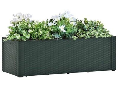vidaXL Podwyższona donica z systemem podlewania, zielona, 100x43x33 cm