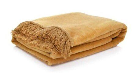 Koc pled DUKA FLUFFIG 200x150 cm musztardowy bawełna
