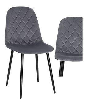 Nowoczesne krzesło tapicerowane DC-1916 jasnoszary welur #23