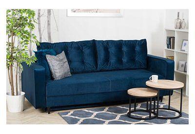 Sofa Rozkładana BRAVOS Funkcja Spania Pojemnik Granat