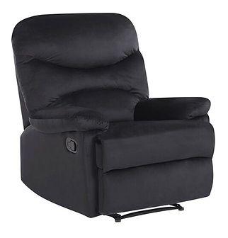 Rozkładany fotel telewizyjny czarny tapicerownany welurem rozkładane oparcie i podnóżek retro design