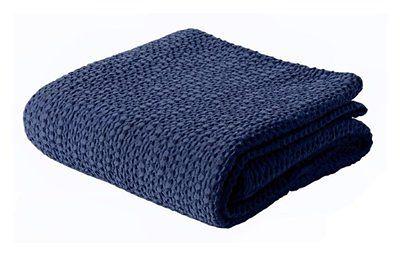 SELSEY Narzuta na łóżko Alpinia bawełniana granatowa