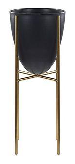 Doniczka na stojaku czarno-złota metalowa 16 x 16 x 41 cm kwietnik stojący stojak na kwiaty na ogród do salonu nowoczesny glamour