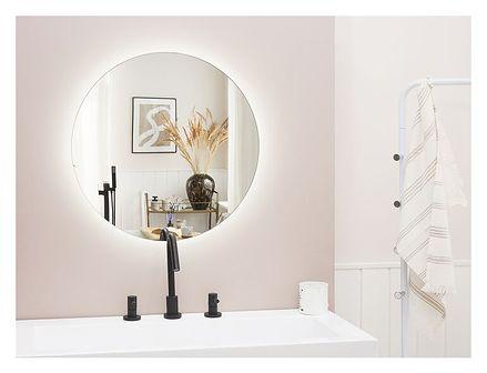 Lustro łazienkowe wiszące okrągłe srebrne 60 cm światło LED nieparujące