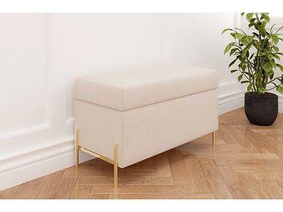 Beżowa tapicerowana ławka Dancan BORGO z pojemnikiem, na złotych metalowych nogach