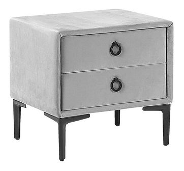 Szafka nocna jasnoszara tapicerowana welurowa 2 szuflady czarne metalowe nogi stolik nowoczesny