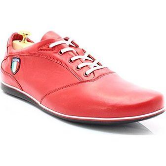 KENT 511I CZERWONE - Skórzane buty męskie sportowe casual