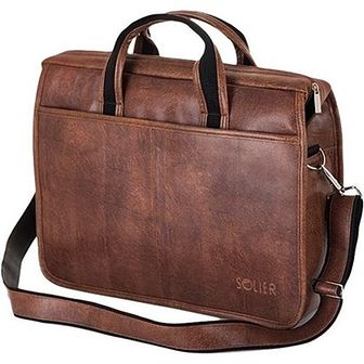 Brązowa męska torba na ramię, laptopa SOLIER LUCAS
