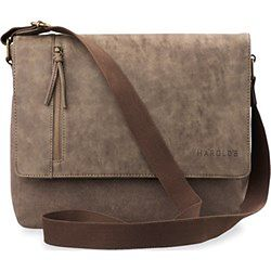 Stylowa torba męska z klapą dwukomorowa harolds a4 – brązowy