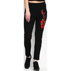 Czarne Spodnie Dresowe Rosy Roses