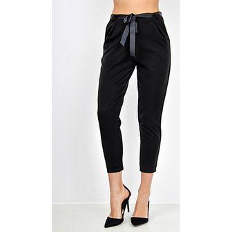 Eleganckie gładkie spodnie ze wstążką