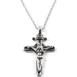 Stalowy naszyjnik z kobietą na krzyżu