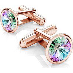 SREBRNE SPINKI DO MANKIETU SWAROVSKI RIVOLI 925 : Kolor kryształu SWAROVSKI - Crystal VL, Kolor pokrycia srebra - Pokrycie Różowym 18K Złotem