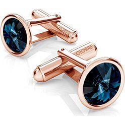 SREBRNE SPINKI DO MANKIETU SWAROVSKI RIVOLI 925 : Kolor kryształu SWAROVSKI - Montana, Kolor pokrycia srebra - Pokrycie Różowym 18K Złotem