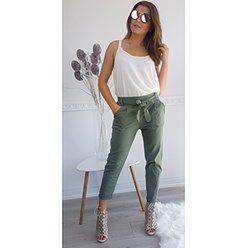 Bawełniane Spodnie Michelle z wysokim stanem -Zielone