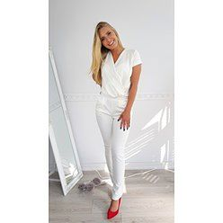 Elegancki kombinezon Letti z przekładanym dekoltem - biały