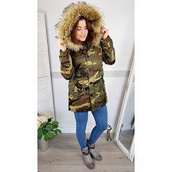 Kurtka Fashion typu Parka z futerkiem - kolor moro