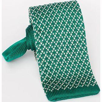 Jedwabny krawat z dzianiny - knit zielony w drobny wzorek