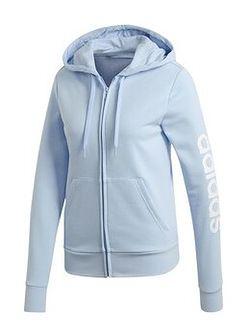 Bluza z kapturem damska Essentials Linear Hoodie Adidas (jasnoniebieska)