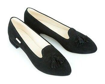 zamszowe balerinki w szpic - skóra naturalna - model 045 - kolor czarny welur