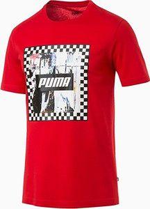 PUMA Męska Koszulka Z Grafiką Szachownicy, High Risk Czerwony, Odzież