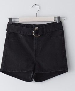 Sinsay - Szorty jeansowe z paskiem - Czarny