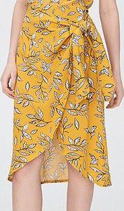 Sinsay - Wzorzysta spódnica z wiązaniem - Pomarańczowy