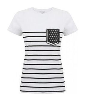 T-shirt z dekoracyjną kieszonką Potis & Verso ALBALI