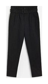 Reserved - Spodnie paperbag z paskiem - Czarny
