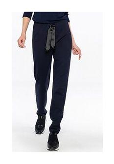 Dresowe granatowe spodnie z gumą w talii Potis & Verso COMA