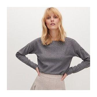 Reserved - Sweter z aplikacją - Szary
