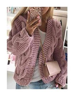Długi rękaw rozpinany krótki jodełka wzór ciepły jesień zima Shorta liliowy sweter (S)