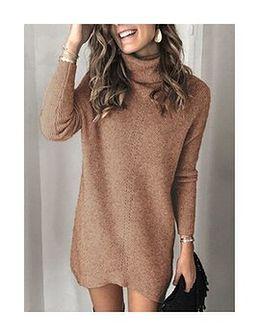 Długi rękaw dłuższy przed kolano oversize luźny golf casual paski prążki ciepły zima jesień modny wygodny Jera khaki sweter (S)