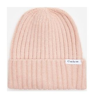 House - Prążkowana czapka z naszywką - Różowy