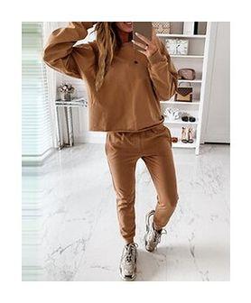 Solidny zestaw spodni z długim rękawem i kieszenią komplet khaki
