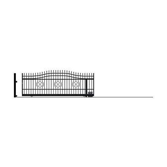 Brama przesuwna bez przeciwwagi z automatem MALAGA III 400 x 162 cm prawa POLARGOS