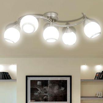 Lampa sufitowa ze szklanymi kloszami na falistej rurce