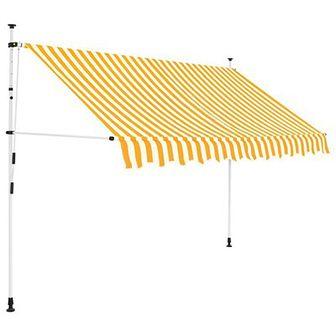 Markiza zwijana ręcznie, 250 cm, żółto-białe pasy
