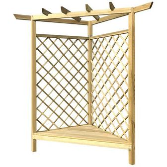 Pergola narożna z ławką, 130x130x197 cm, drewno sosnowe FSC