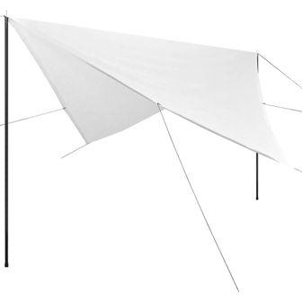 Żagiel przeciwsłoneczny ze słupkami, HDPE, 5 x 5 m, biały