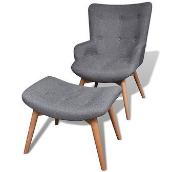 Tapicerowany fotel z podnóżkiem, szary, materiałowy