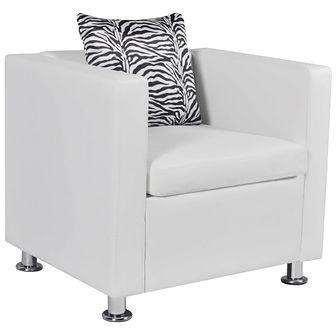 Fotel ze skóry syntetycznej, biały
