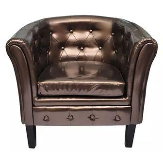 Półokrągły fotel ze skóry syntetycznej, brązowy