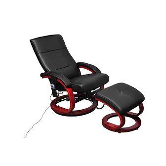 Fotel masujący ze sztucznej skóry z podnóżkiem, czarny