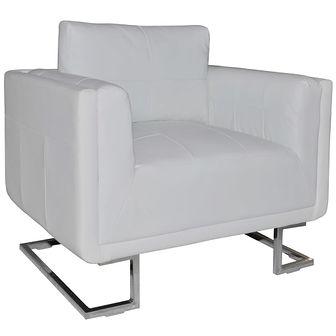 Fotel w formie kostki ze skóry syntetycznej, biały