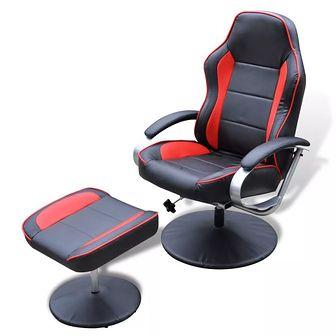 Regulowany fotel z podnóżkiem, sztuczna skóra, czarno-czerwony