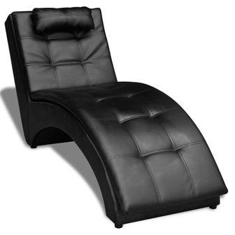 Szezlong z poduszką, skóra syntetyczna, czarny