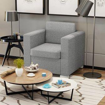 Fotel tapicerowany jasnoszary