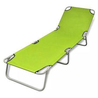 Składany leżak, stal malowana proszkowo, zielony